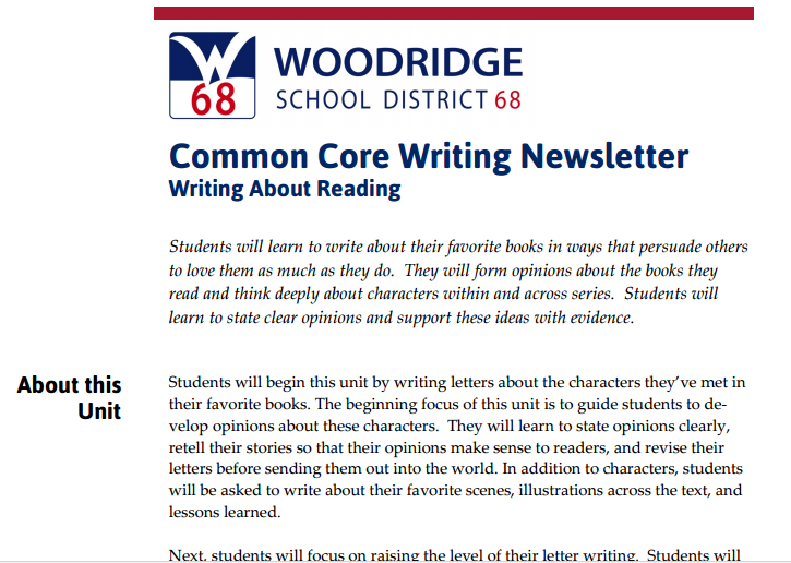 2 - Opinoin: Writing About Reading - Woodridge District 68